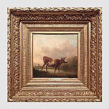 Ommeganck Balthazar Paul (1755-1826). Vache et troupeau dans un paysage. Huile sur panneau. 28 x 30 cm. Signé en bas à droite. Cadre en bois doré.