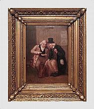 Meyer J. Concert des artistes de Berlin. Huile sur panneau. 29 x 21 cm. Signé en bas à gauche. Cadre en bois doré.