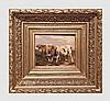 Stevens J.D.. Vaches. Huile sur panneau. 20 x 25 cm. Signé en en bas à gauche. Cadre en bois doré.