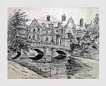 Rodenbach Helène (1876-1964). St. John's Bridge, Cambridge. Encre de chine. 14 x 17,5 cm (à vue). Signé en bas à droite.