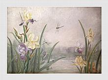 Rodenbach Helène (1876-1964). Les jonquilles. Huile sur toile. 89 x 105 cm. Signé en bas à gauche.