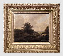 Rodenbach Jules (1824-1915). Les promeneurs. Huile sur panneau. 20 x 25 cm. Signé et daté 1847 en bas à droite. Ancienne étiquette manuscrite au dos.