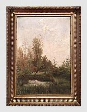 Lot de 4 petits tableaux de paysages dont un pastel