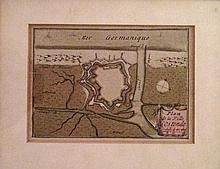 Lot de deux gravures anonymes représentant un plan et une vue de la ville d'Ostende.