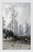 Triest Van Mulders Camille (1868-1949). Paysage. Aquarelle sur papier. 22 x 13 cm (à vue). Signé et annoté