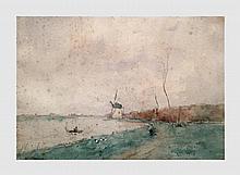 Stacquet Henri (1838-1906). Le moulin et la barque. Aquarelle sur papier. 23 x 33 cm. Signé en bas à gauche. Rousseurs éparses