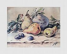 Lincé Jo. Nature morte aux fruits. Aquarelle et pastel sur papier. 29 X 38 cm (à vue). Signé en bas à droite.