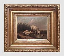 Carpentero L. (XIXème). Moutons s'abreuvant. Huile sur panneau . 18 x 25 cm. Signé en bas à droite.