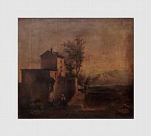 De Groux Charles (1825-1870). Personnages dans un paysage. Huile sur toile. 42 x 49 cm. Signé en bas à droite. Ancienne étiquette au dos.