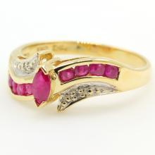 Estate Vintage 10K Yellow Gold Ruby Diamond 0.35CTW BirthStone Ring
