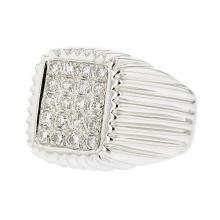 18K White Gold Men's Diamond Signet Ring -  Brand New - Certified