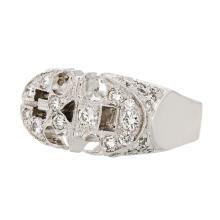 Unique Bat-SHaped Modern Platinum Diamond Men's Ring 1.05CTW - Brand New