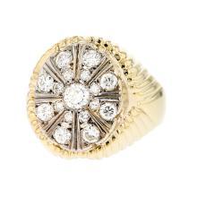 Unique 14K White & Yellow Gold Men's Diamond Ring 1.35CTW - Brand New