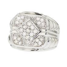 Stylish Modern 14K White Gold Men's Diamond Signet Ring 1.10 CTW - Brand New