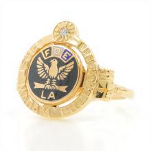 Estate 10K Yellow Gold Diamond Enamel Fraternal Order Eagles FOE Ring Size 6