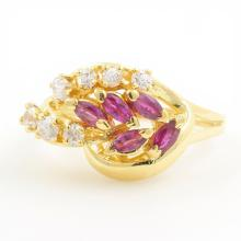 Estate Ladies 18K Yellow Gold Zirconia Red Spinel Right Hand Ring