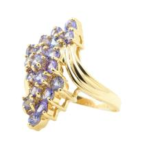 NEW Modern Ladies 10K Yellow Gold Lolite 1.90CTW Cluster Cocktail Ring
