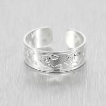 Estate 925 Silver High Polished Detail Open Cuff Ring Band Size 10