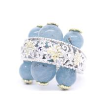 Estate 925 Silver Ornate Blue Jade Spheres Blue Topaz Cocktail Ring Size 8