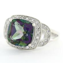 Estate 925 Silver Mystic Topaz Gemstone Right Hand Ring Size 6.75