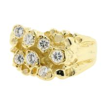 Handsome Men's 14K Yellow Gold Cubic Zirconia Nugget Ring Size  8.75