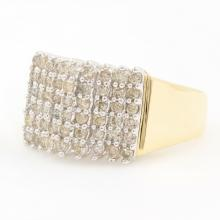 Estate Vintage 10K Yellow Gold Diamond 0.75CTW Pyramid Right Hand Ring