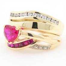 Retro Vintage Ladies 9K Yellow Gold Heart Spinel Right Hand Ring Jewelry