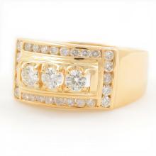 Estate Men's 14K Yellow Gold Diamond 0.97CTW Three Stone Ring