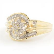 Charming Ladies 10K Yellow Gold Diamond 0.50CTW Bypass Rosita Right Hand Ring
