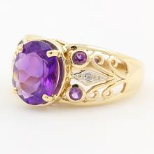 Vintage Estate 10K Yellow Gold Amethyst Diamond 2.10CTW Filigree Right Hand Ring
