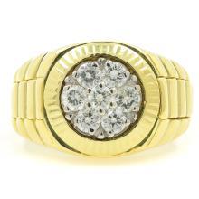Estate Men's Vintage 18K Yellow Gold Diamond 1.05CTW Watch Style Ring Size 10.5