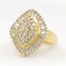 Classic 10K Yellow Gold Diamond 1.15CTW Right Hand Cocktail Ring