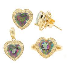 Modern Ladies 14K Yellow Gold Mystic Topaz Heart Three Piece Jewelry Set