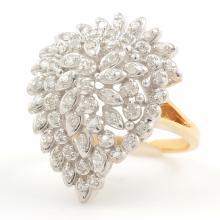Estate Ladies 14K Yellow White Gold Diamond 0.85CTW Cocktail Ring Jewelry