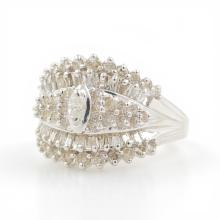Charming Ladies Vintage 14K White Gold Diamond 1.20CTW Cluster Right Hand Ring