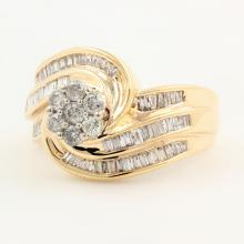 Estate Ladies 10K Yellow Gold Diamond 1.35CTW Bypass Rosita Right Hand Ring