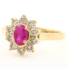Vintage Retro Estate 14K Yellow Gold Ruby Diamond 0.95CTW Right Hand Ring