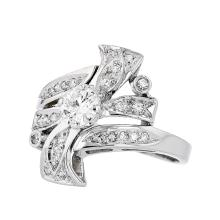 Stunning Modern 14K White Gold Diamond Women's Ring - Brand New