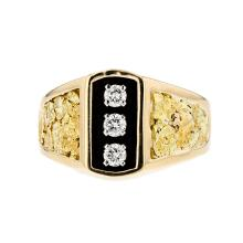 Stunning 14K & 23K Yellow Gold Diamond Unisex Ring - Brand New