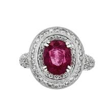 Gorgeous 18K White Gold Women's Tourmaline 3.09CT & Diamond 2.00CTW Ring - New