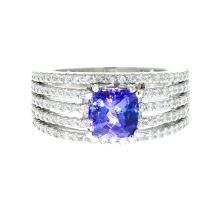 Exellent 14K White Gold Women's Tanzanite & Diamond 1.32CTW Ring - Brand New