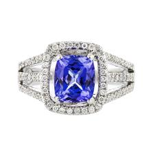 Stunning 18K White Gold Diamond & Tanzanite Women's Ring - 1.05CTW - Brand New