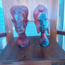 PAIR of Native Hand Carved Tribal Busts (Authentic)