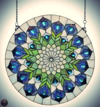 Tiffany Style Peacock Feathers Window Panel