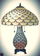 Tiffany Style Jeweled Double Lit Table Lamp 3 Light 18-Inch Wide, White
