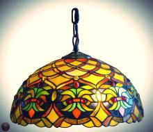 Tiffany Style Floral Ceiling Hanging Lamp 14-Inch Wide 2 Light