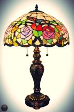 Tiffany Style  Hummingbirds Floral Table Lamp 26 In Tall