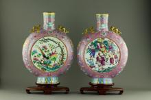 19th C. Pair Famille Rose Porcelain Vases Xuande M