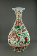 Ming Style Iron Red Green Enameled Porcelain Vase