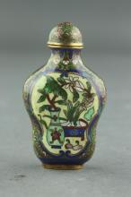 19th C. Qing Period Cloisonne Snuff Bottle
